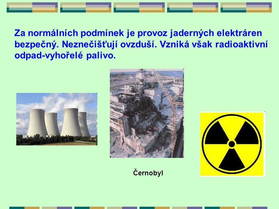 Za normálních podmínek je provoz jaderných elektráren bezpečný. Neznečišťují ovzduší. Vzniká však radioaktivní odpad-vyhořelé palivo. Černobyl