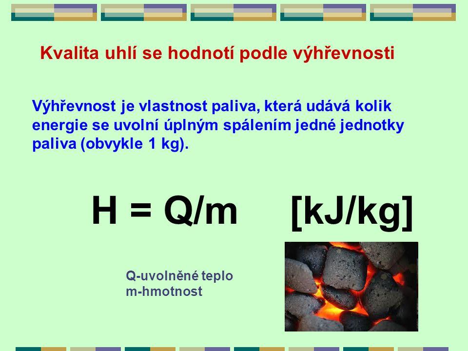 Kvalita uhlí se hodnotí podle výhřevnosti Výhřevnost je vlastnost paliva, která udává kolik energie se uvolní úplným spálením jedné jednotky paliva (o