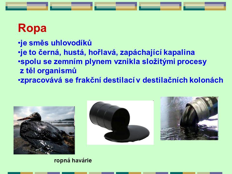 Ropa je směs uhlovodíků je to černá, hustá, hořlavá, zapáchající kapalina spolu se zemním plynem vznikla složitými procesy z těl organismů zpracovává
