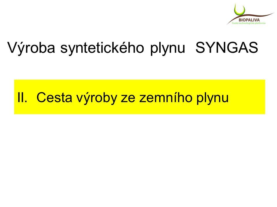 II. Cesta výroby ze zemního plynu Výroba syntetického plynu SYNGAS