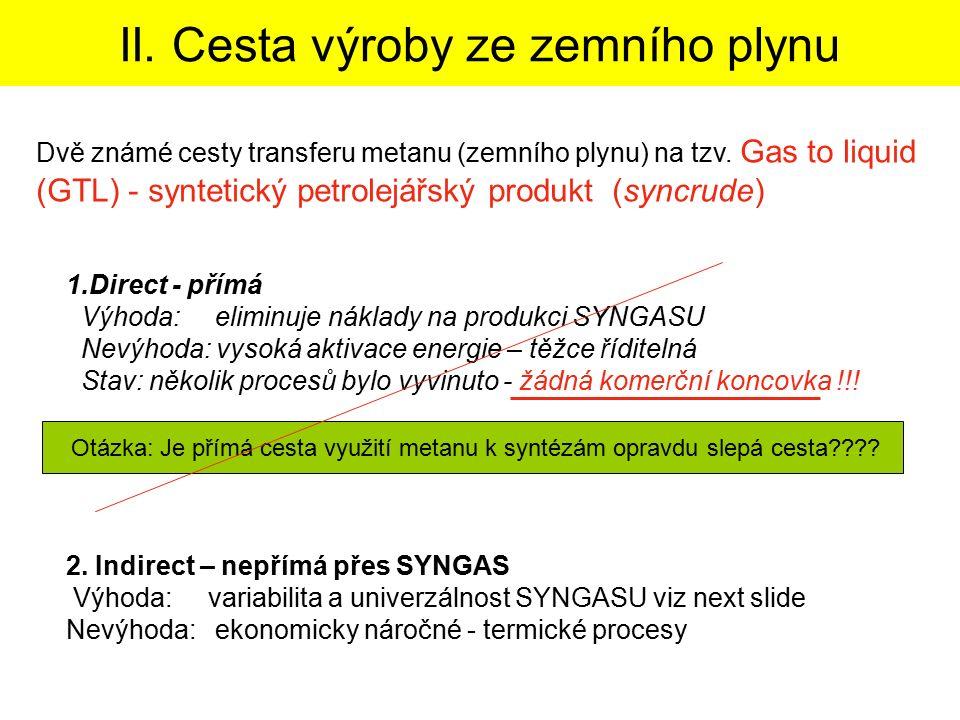 II. Cesta výroby ze zemního plynu 1.Direct - přímá Výhoda: eliminuje náklady na produkci SYNGASU Nevýhoda: vysoká aktivace energie – těžce říditelná S