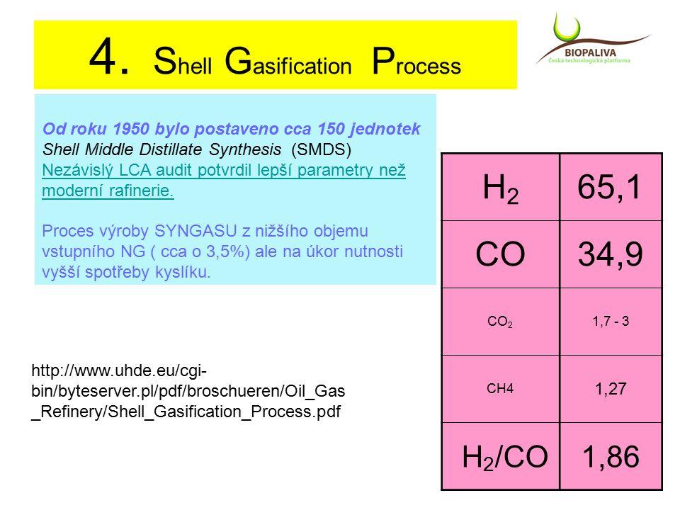 4. S hell G asification P rocess Od roku 1950 bylo postaveno cca 150 jednotek Shell Middle Distillate Synthesis (SMDS) Nezávislý LCA audit potvrdil le