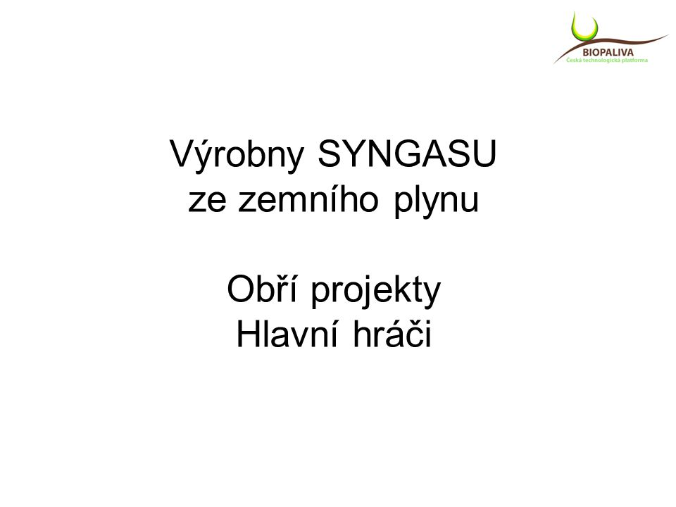 Výrobny SYNGASU ze zemního plynu Obří projekty Hlavní hráči