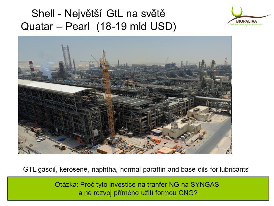 Shell - Největší GtL na světě Quatar – Pearl (18-19 mld USD) GTL gasoil, kerosene, naphtha, normal paraffin and base oils for lubricants Otázka: Proč tyto investice na tranfer NG na SYNGAS a ne rozvoj přímého užití formou CNG