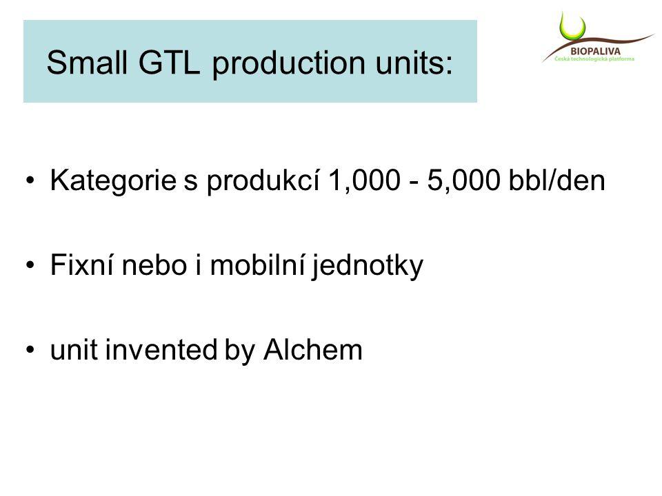 Small GTL production units: Kategorie s produkcí 1,000 - 5,000 bbl/den Fixní nebo i mobilní jednotky unit invented by Alchem