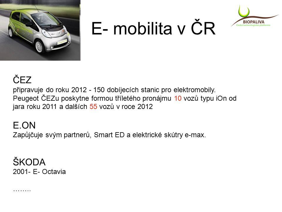 E- mobilita v ČR ČEZ připravuje do roku 2012 - 150 dobíjecích stanic pro elektromobily.