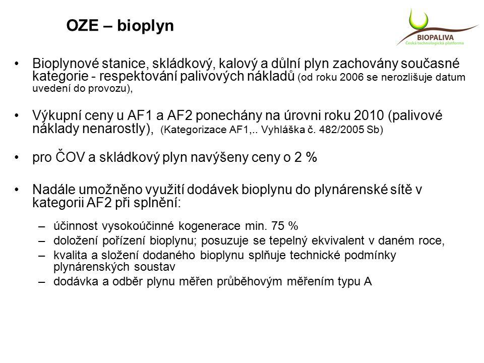 OZE – bioplyn Bioplynové stanice, skládkový, kalový a důlní plyn zachovány současné kategorie - respektování palivových nákladů (od roku 2006 se nerozlišuje datum uvedení do provozu), Výkupní ceny u AF1 a AF2 ponechány na úrovni roku 2010 (palivové náklady nenarostly), (Kategorizace AF1,..