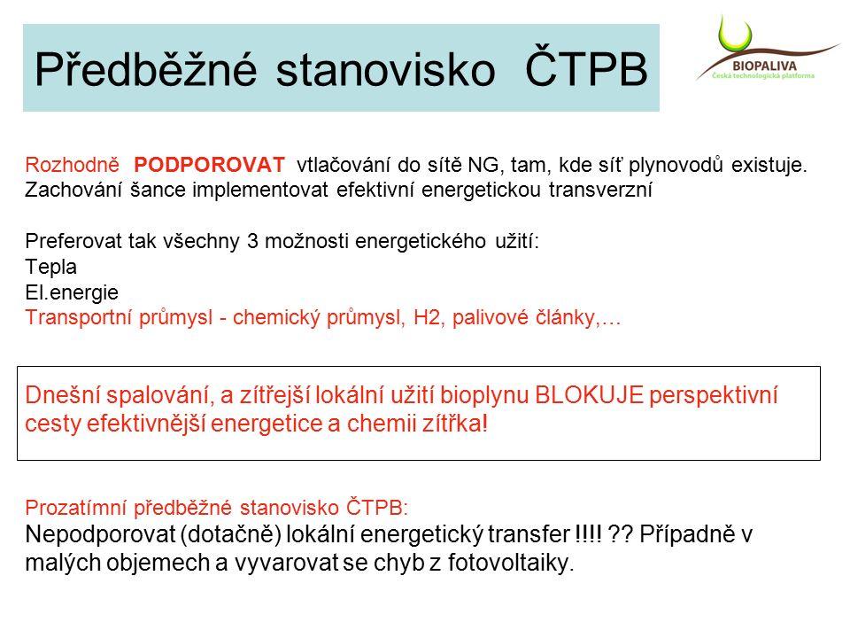 Předběžné stanovisko ČTPB Rozhodně PODPOROVAT vtlačování do sítě NG, tam, kde síť plynovodů existuje.