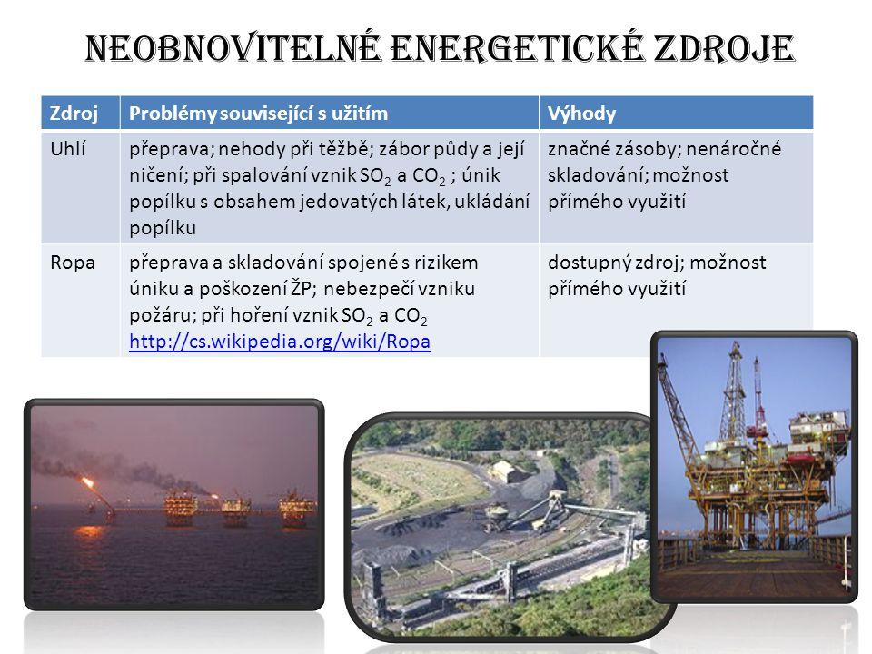 Neobnovitelné energetické zdroje ZdrojProblémy související s užitímVýhody Uhlípřeprava; nehody při těžbě; zábor půdy a její ničení; při spalování vznik SO 2 a CO 2 ; únik popílku s obsahem jedovatých látek, ukládání popílku značné zásoby; nenáročné skladování; možnost přímého využití Ropapřeprava a skladování spojené s rizikem úniku a poškození ŽP; nebezpečí vzniku požáru; při hoření vznik SO 2 a CO 2 http://cs.wikipedia.org/wiki/Ropa dostupný zdroj; možnost přímého využití