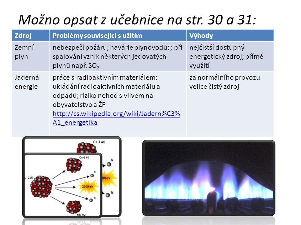 Možno opsat z učebnice na str. 30 a 31: ZdrojProblémy související s užitímVýhody Zemní plyn nebezpečí požáru; havárie plynovodů; ; při spalování vznik
