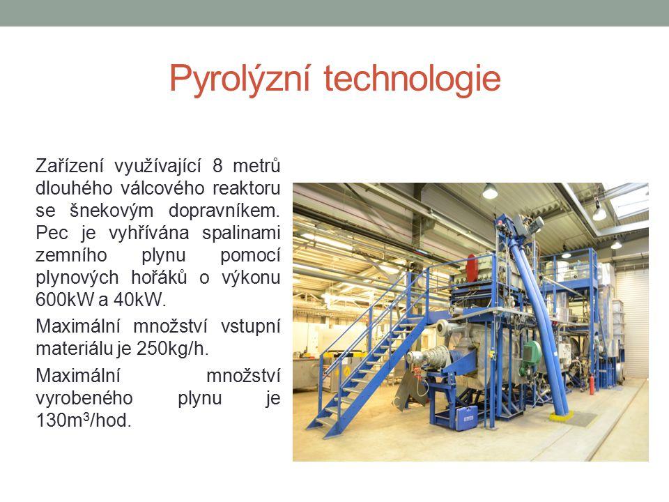 Pyrolýzní technologie Zařízení využívající 8 metrů dlouhého válcového reaktoru se šnekovým dopravníkem.