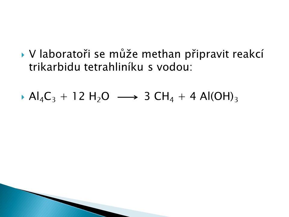  V laboratoři se může methan připravit reakcí trikarbidu tetrahliníku s vodou:  Al 4 C 3 + 12 H 2 O 3 CH 4 + 4 Al(OH) 3