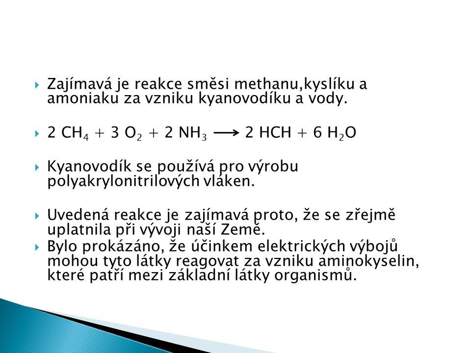  Zajímavá je reakce směsi methanu,kyslíku a amoniaku za vzniku kyanovodíku a vody.