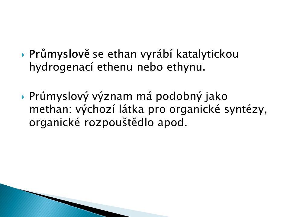  Průmyslově se ethan vyrábí katalytickou hydrogenací ethenu nebo ethynu.