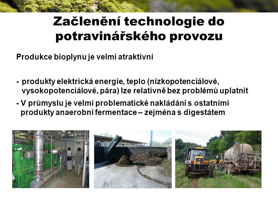 Začlenění technologie do potravinářského provozu Produkce bioplynu je velmi atraktivní - produkty elektrická energie, teplo (nízkopotenciálové, vysokopotenciálové, pára) lze relativně bez problémů uplatnit - V průmyslu je velmi problematické nakládání s ostatními produkty anaerobní fermentace – zejména s digestátem