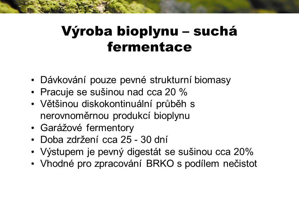 Dávkování pouze pevné strukturní biomasy Pracuje se sušinou nad cca 20 % Většinou diskokontinuální průběh s nerovnoměrnou produkcí bioplynu Garážové fermentory Doba zdržení cca 25 - 30 dní Výstupem je pevný digestát se sušinou cca 20% Vhodné pro zpracování BRKO s podílem nečistot