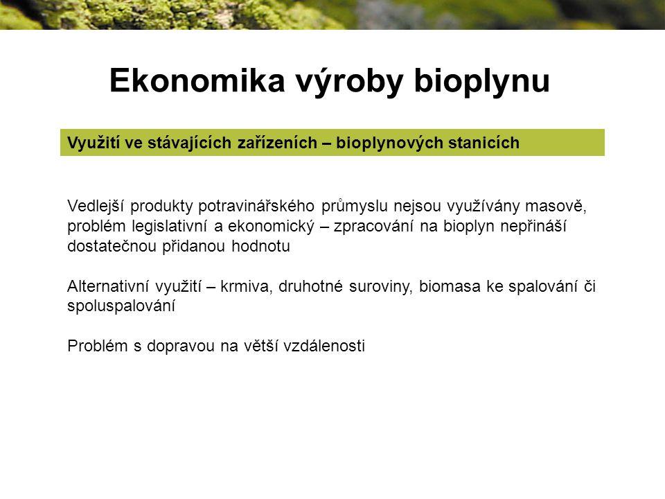 Ekonomika výroby bioplynu Využití ve stávajících zařízeních – bioplynových stanicích Vedlejší produkty potravinářského průmyslu nejsou využívány masově, problém legislativní a ekonomický – zpracování na bioplyn nepřináší dostatečnou přidanou hodnotu Alternativní využití – krmiva, druhotné suroviny, biomasa ke spalování či spoluspalování Problém s dopravou na větší vzdálenosti
