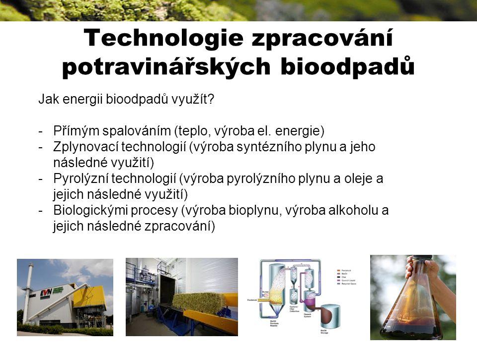 Technologie zpracování potravinářských bioodpadů Jak energii bioodpadů využít.