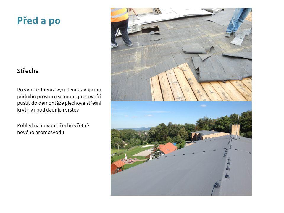 . Střecha Po vyprázdnění a vyčištění stávajícího půdního prostoru se mohli pracovníci pustit do demontáže plechové střešní krytiny i podkladních vrstev Pohled na novou střechu včetně nového hromosvodu