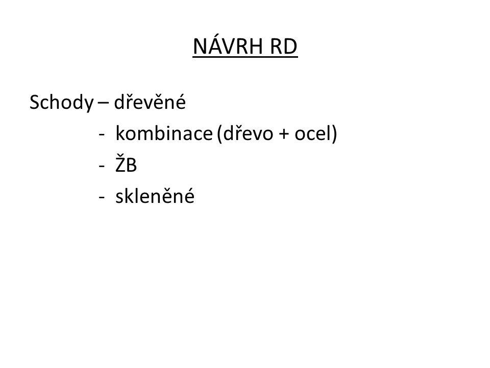 NÁVRH RD Schody – dřevěné - kombinace (dřevo + ocel) - ŽB - skleněné