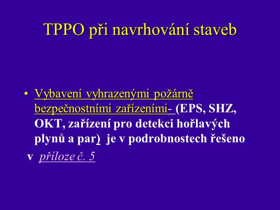 TPPO při navrhování staveb Vybavení vyhrazenými požárně bezpečnostními zařízenímiVybavení vyhrazenými požárně bezpečnostními zařízeními- (EPS, SHZ, OKT, zařízení pro detekci hořlavých plynů a par) je v podrobnostech řešeno v příloze č.