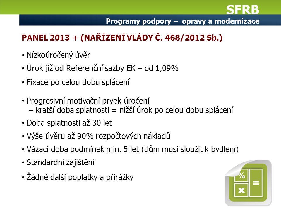 SFRB Programy podpory – opravy a modernizace PANEL 2013 + (NAŘÍZENÍ VLÁDY Č. 468/2012 Sb.) Nízkoúročený úvěr Úrok již od Referenční sazby EK – od 1,09
