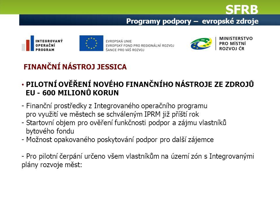 SFRB Programy podpory – evropské zdroje PILOTNÍ OVĚŘENÍ NOVÉHO FINANČNÍHO NÁSTROJE ZE ZDROJŮ EU - 600 MILIONŮ KORUN - Finanční prostředky z Integrovaného operačního programu pro využití ve městech se schváleným IPRM již příští rok - Startovní objem pro ověření funkčnosti podpor a zájmu vlastníků bytového fondu - Možnost opakovaného poskytování podpor pro další zájemce - Pro pilotní čerpání určeno všem vlastníkům na území zón s Integrovanými plány rozvoje měst: FINANČNÍ NÁSTROJ JESSICA