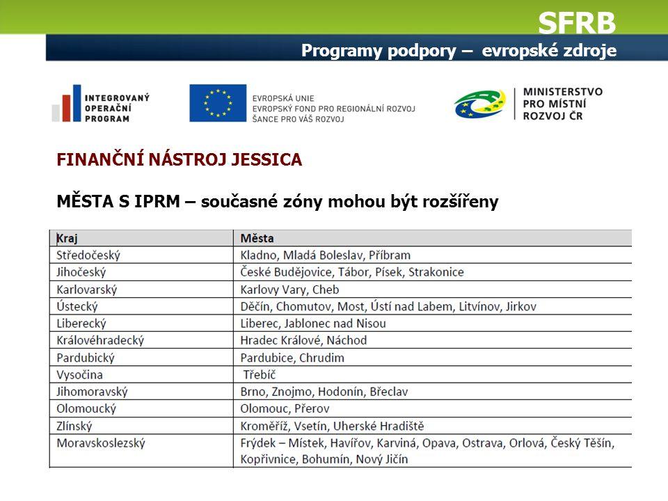 SFRB Programy podpory – evropské zdroje MĚSTA S IPRM – současné zóny mohou být rozšířeny FINANČNÍ NÁSTROJ JESSICA