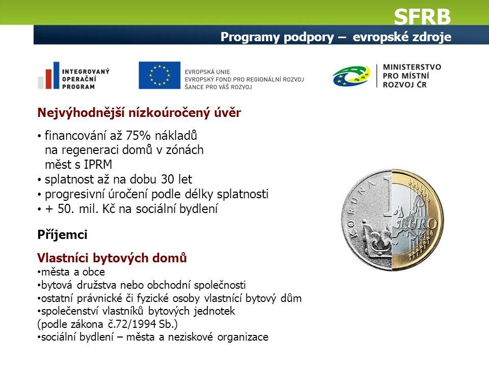 SFRB Programy podpory – evropské zdroje Nejvýhodnější nízkoúročený úvěr financování až 75% nákladů na regeneraci domů v zónách měst s IPRM splatnost až na dobu 30 let progresivní úročení podle délky splatnosti + 50.