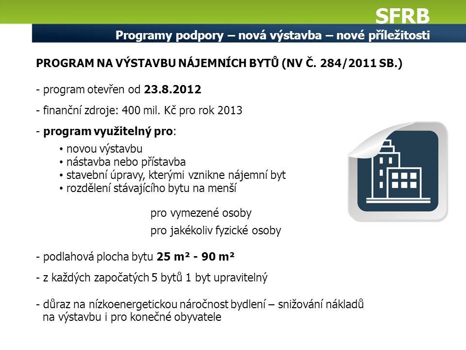 SFRB Programy podpory – nová výstavba – nové příležitosti PROGRAM NA VÝSTAVBU NÁJEMNÍCH BYTŮ (NV Č. 284/2011 SB.) - program otevřen od 23.8.2012 - fin