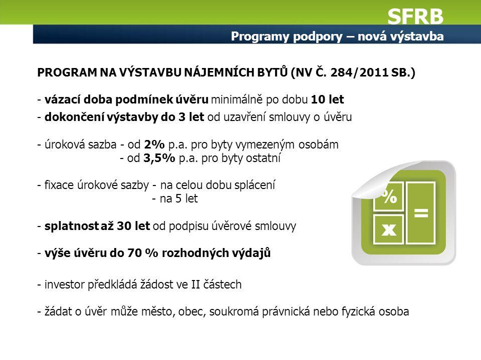 SFRB Programy podpory – nová výstavba PROGRAM NA VÝSTAVBU NÁJEMNÍCH BYTŮ (NV Č. 284/2011 SB.) - vázací doba podmínek úvěru minimálně po dobu 10 let -