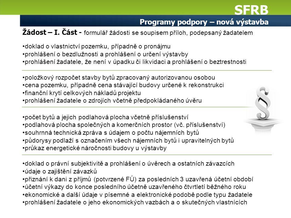 SFRB Programy podpory – nová výstavba Žádost – I. Část - formulář žádosti se soupisem příloh, podepsaný žadatelem doklad o vlastnictví pozemku, případ