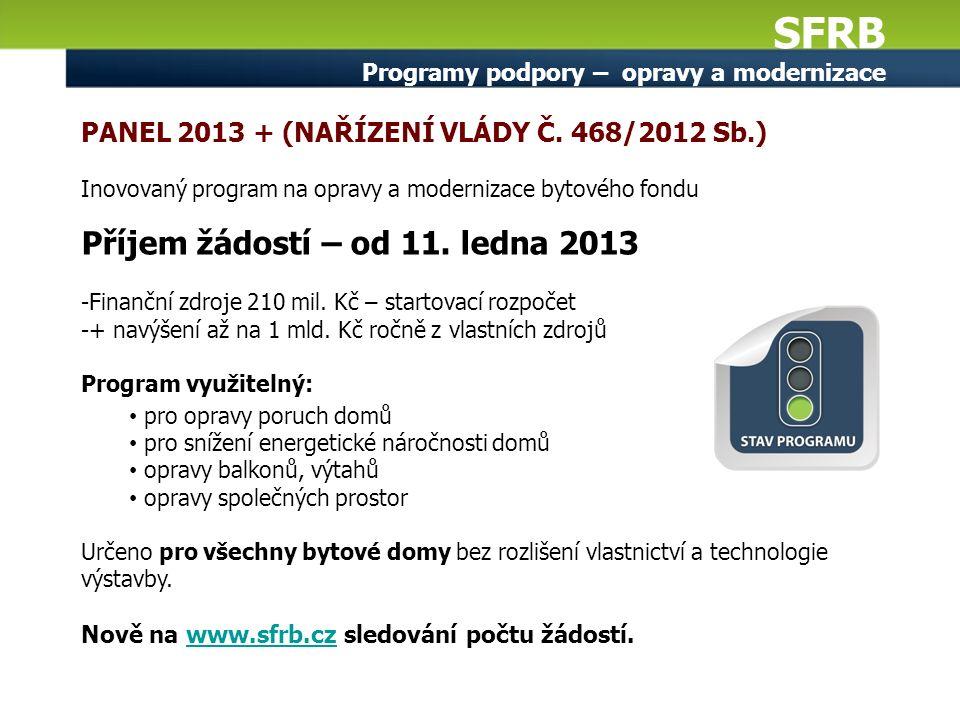 SFRB Programy podpory – opravy a modernizace PANEL 2013 + (NAŘÍZENÍ VLÁDY Č. 468/2012 Sb.) Inovovaný program na opravy a modernizace bytového fondu Př