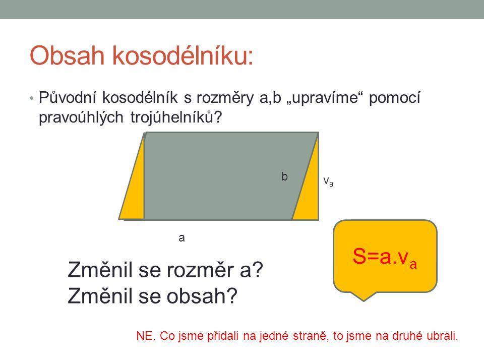 """Obsah kosodélníku: Původní kosodélník s rozměry a,b """"upravíme pomocí pravoúhlých trojúhelníků."""