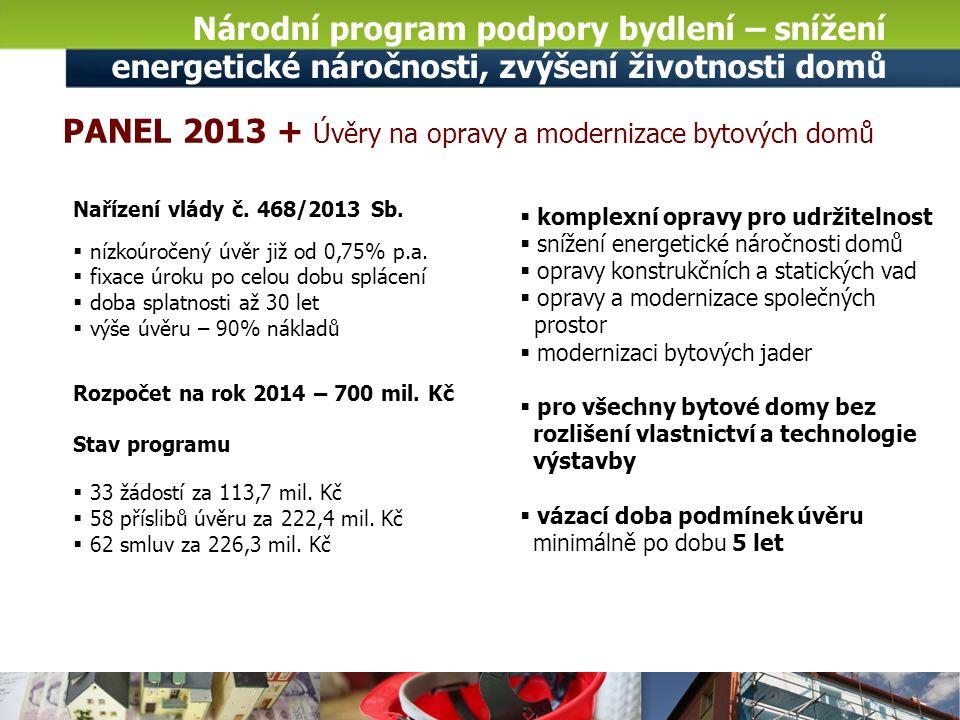 Národní program podpory bydlení – snížení energetické náročnosti, zvýšení životnosti domů Nařízení vlády č.
