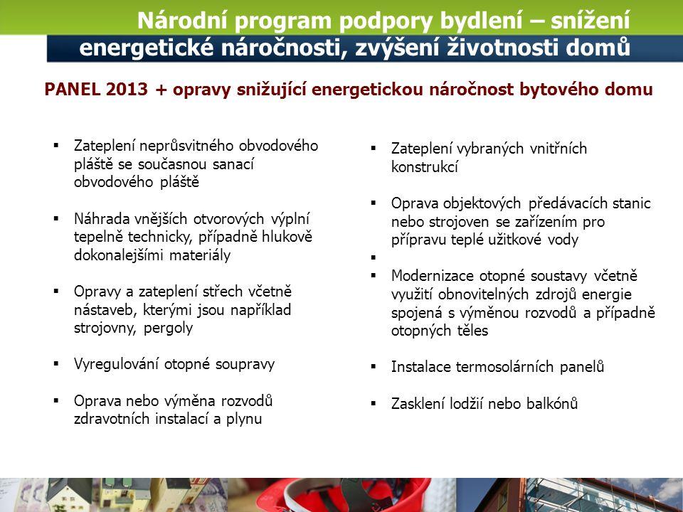 Národní program podpory bydlení – snížení energetické náročnosti, zvýšení životnosti domů Novela Nařízení vlády č.