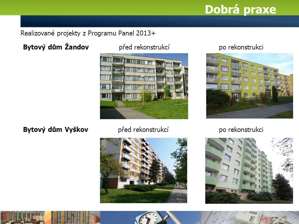Realizované projekty z Programu Panel 2013+ Dobrá praxe Bytový dům Žandov před rekonstrukcí po rekonstrukci Bytový dům Vyškov před rekonstrukcí po rekonstrukci