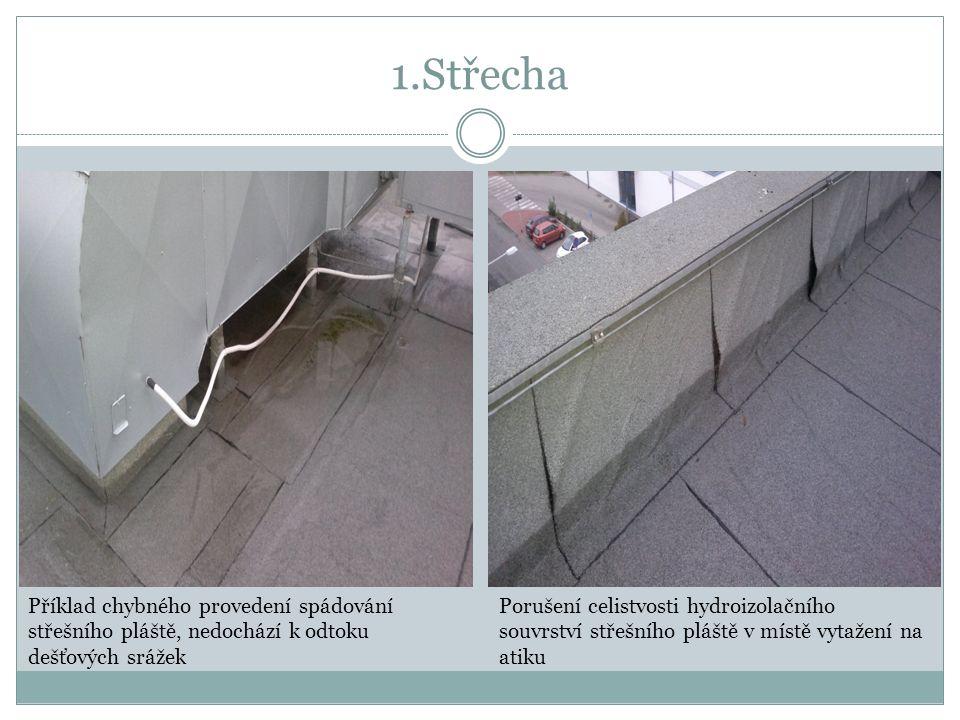 1.Střecha Příklad chybného provedení spádování střešního pláště, nedochází k odtoku dešťových srážek Porušení celistvosti hydroizolačního souvrství střešního pláště v místě vytažení na atiku