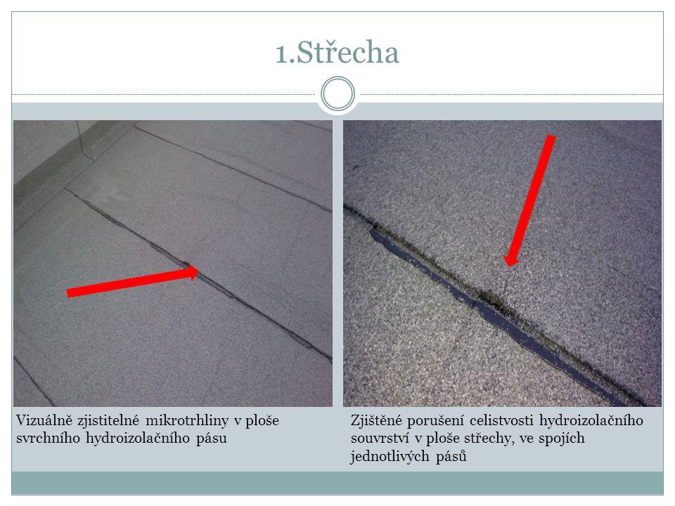 1.Střecha Vizuálně zjistitelné mikrotrhliny v ploše svrchního hydroizolačního pásu Zjištěné porušení celistvosti hydroizolačního souvrství v ploše střechy, ve spojích jednotlivých pásů