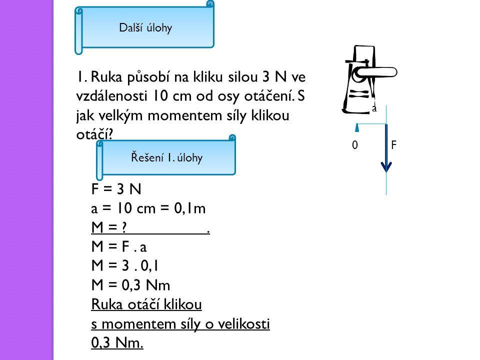 Další úlohy 1. Ruka působí na kliku silou 3 N ve vzdálenosti 10 cm od osy otáčení.