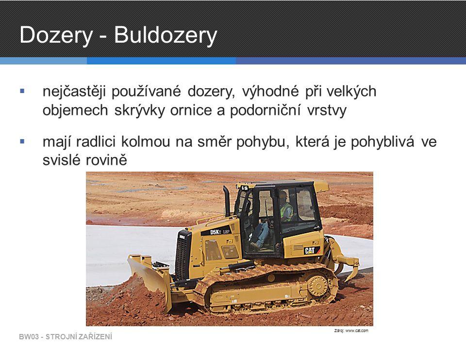Dozery - Buldozery  nejčastěji používané dozery, výhodné při velkých objemech skrývky ornice a podorniční vrstvy  mají radlici kolmou na směr pohybu, která je pohyblivá ve svislé rovině BW03 - STROJNÍ ZAŘÍZENÍ Zdroj: www.cat.com