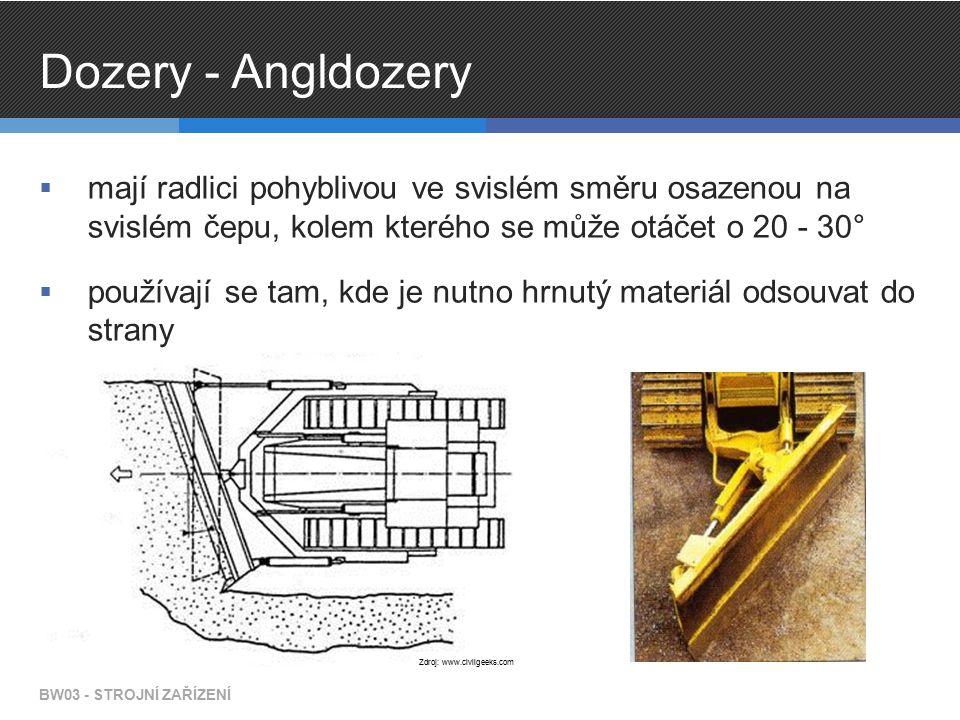 Dozery - Angldozery  mají radlici pohyblivou ve svislém směru osazenou na svislém čepu, kolem kterého se může otáčet o 20 - 30°  používají se tam, kde je nutno hrnutý materiál odsouvat do strany BW03 - STROJNÍ ZAŘÍZENÍ Zdroj: www.civilgeeks.com