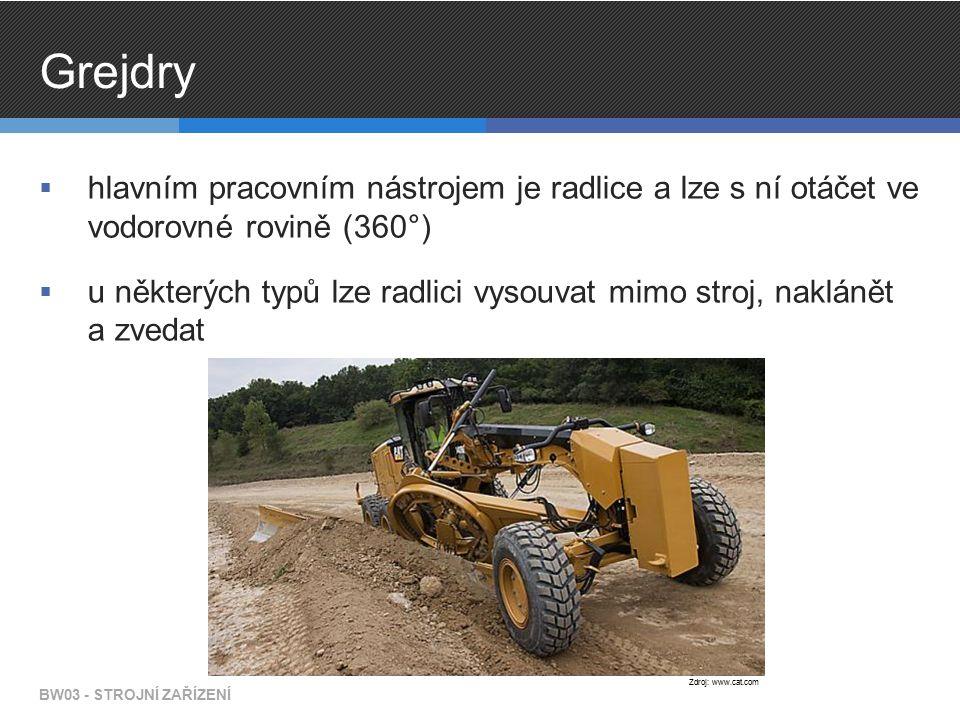 Grejdry  hlavním pracovním nástrojem je radlice a lze s ní otáčet ve vodorovné rovině (360°)  u některých typů lze radlici vysouvat mimo stroj, naklánět a zvedat BW03 - STROJNÍ ZAŘÍZENÍ Zdroj: www.cat.com