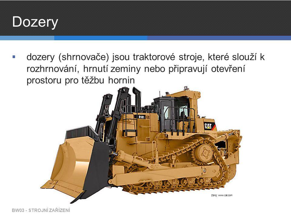 Dozery  dozery (shrnovače) jsou traktorové stroje, které slouží k rozhrnování, hrnutí zeminy nebo připravují otevření prostoru pro těžbu hornin BW03 - STROJNÍ ZAŘÍZENÍ Zdroj: www.cat.com