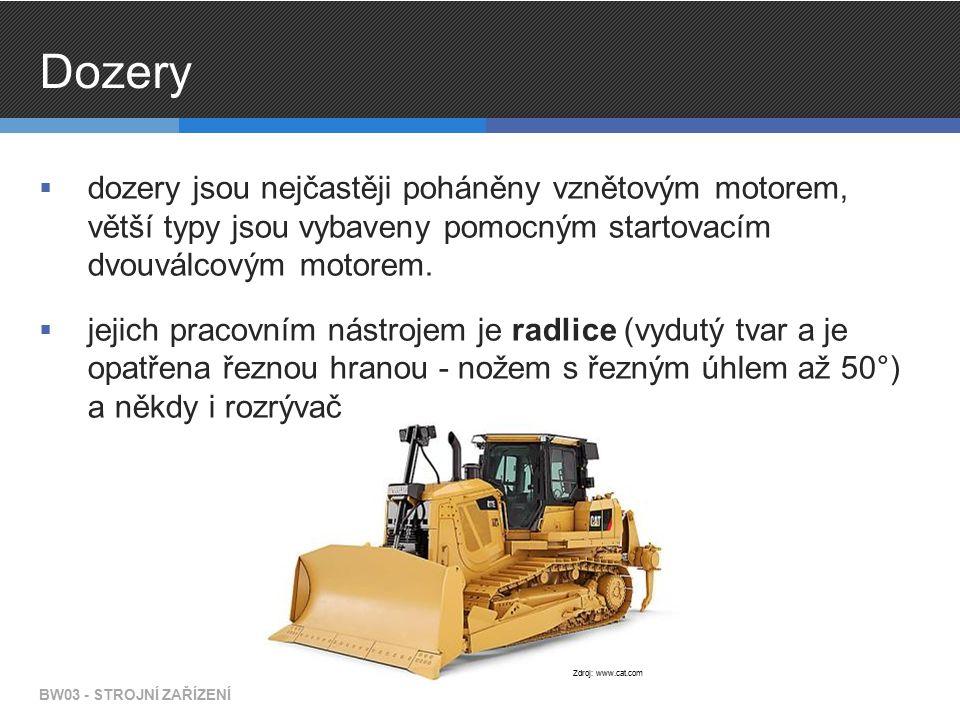 Grejdry  pohon je zajištěn vznětovým motorem  zadní nápravy jsou hnané, přední náprava je určena pouze pro řízení grejdru BW03 - STROJNÍ ZAŘÍZENÍ Zdroj: www.cat.com