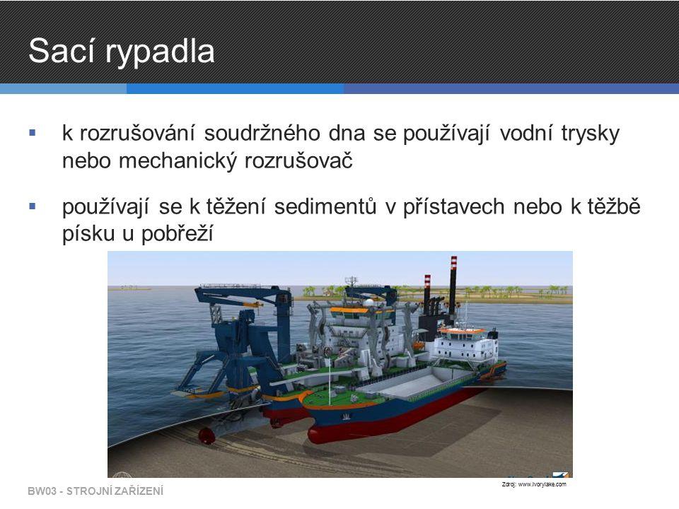 Sací rypadla  k rozrušování soudržného dna se používají vodní trysky nebo mechanický rozrušovač  používají se k těžení sedimentů v přístavech nebo k těžbě písku u pobřeží BW03 - STROJNÍ ZAŘÍZENÍ Zdroj: www.ivorylake.com