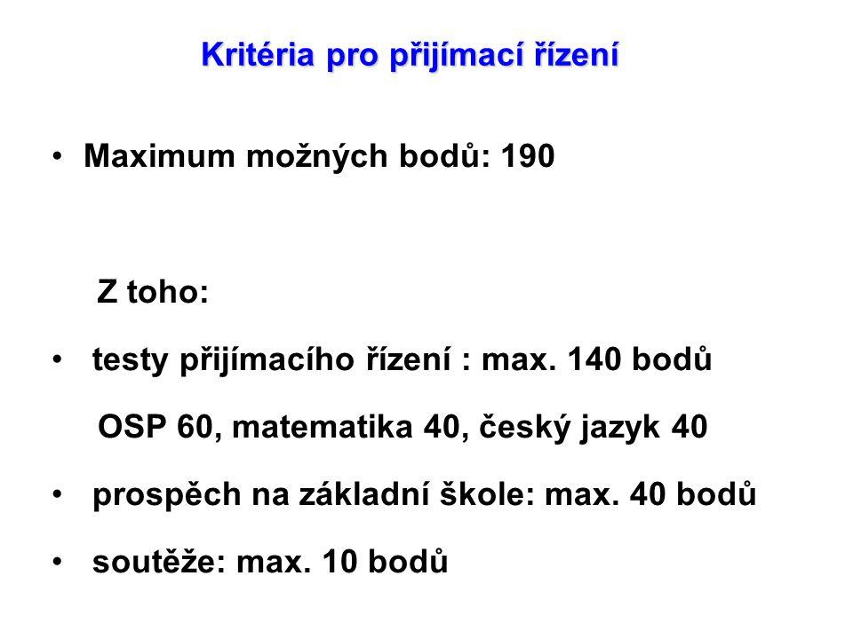 Kritéria pro přijímací řízení Maximum možných bodů: 190 Z toho: testy přijímacího řízení : max. 140 bodů OSP 60, matematika 40, český jazyk 40 prospěc
