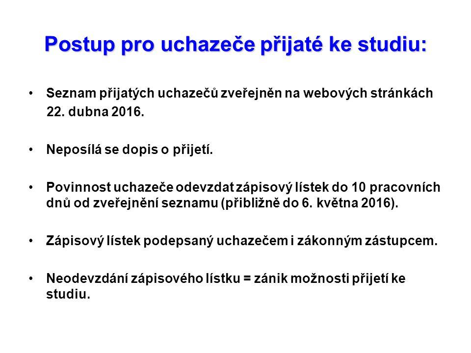 Postup pro uchazeče přijaté ke studiu: Seznam přijatých uchazečů zveřejněn na webových stránkách 22.