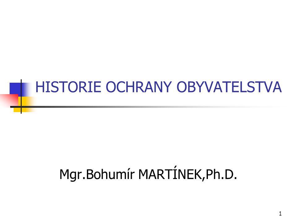 1 HISTORIE OCHRANY OBYVATELSTVA Mgr.Bohumír MARTÍNEK,Ph.D.