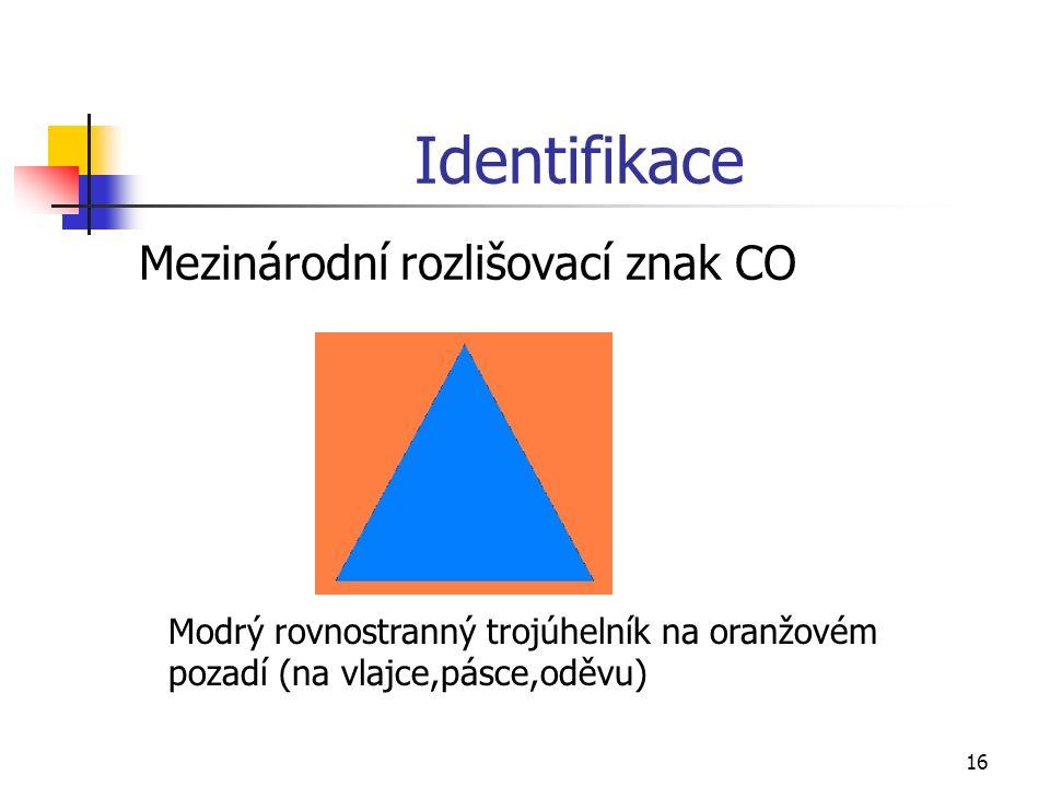 16 Identifikace Mezinárodní rozlišovací znak CO Modrý rovnostranný trojúhelník na oranžovém pozadí (na vlajce,pásce,oděvu)